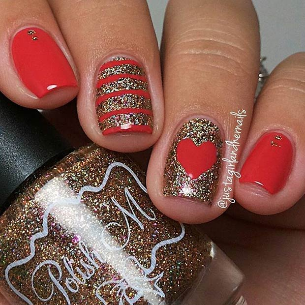 Red and Gold Glitter Valentines Day Nails
