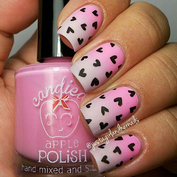 Ombre Nail Art Design with Hearts