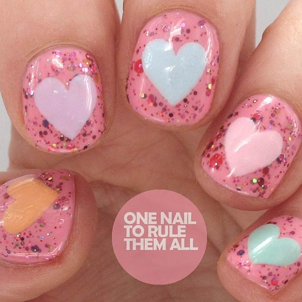 Sparkly Nail Manicure for Valentines Day