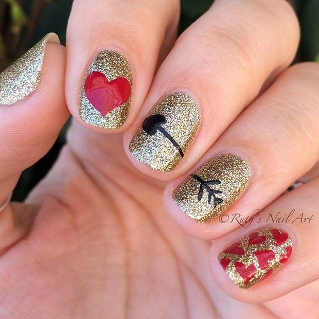 Love Arrow Nail Design for Valentines Day