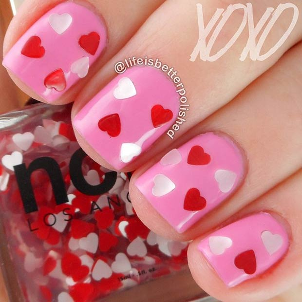 Valentines Day Nail Design for Short Nails