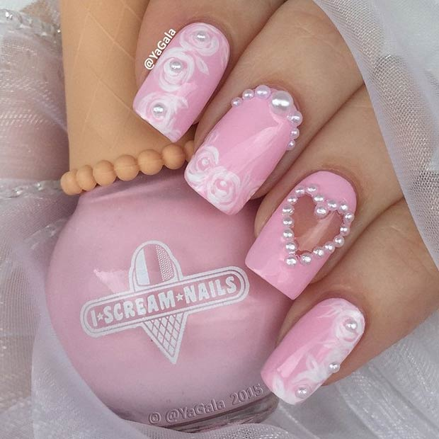Pink and White Valentines Day Nails