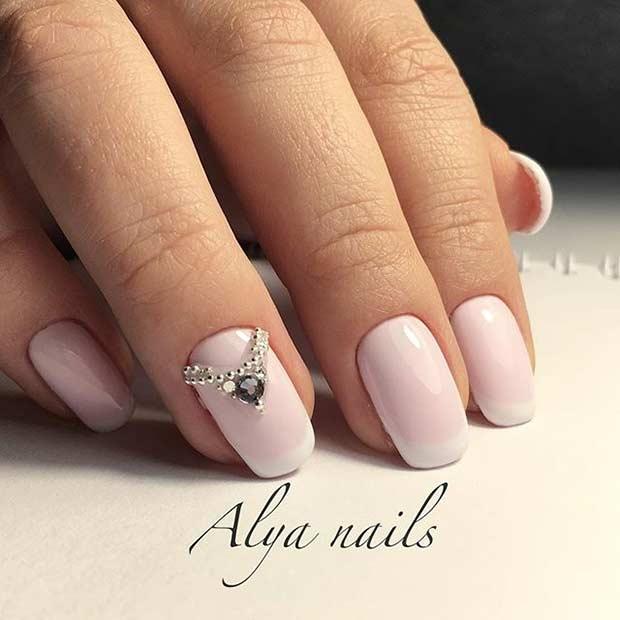 Simple Pink Wedding Nail Art Designs Ideas 2016