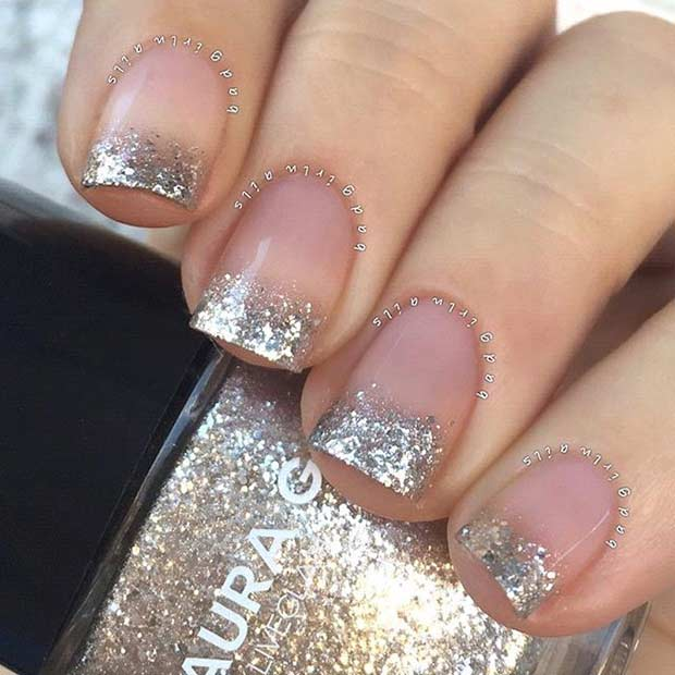 Glittery Blue And Silver French Tip Nail Design