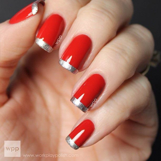 Silver Bling Glitter French Tip Nail Design