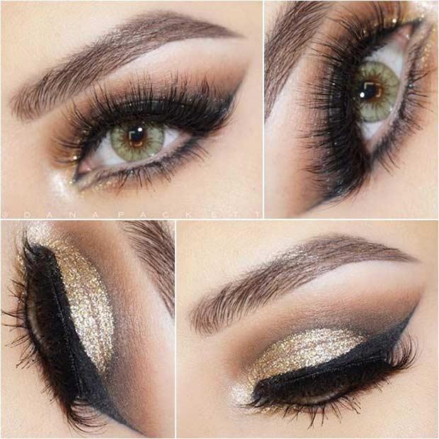 Gold Glitter Cut Crease Eye Makeup Look for Green Eyes