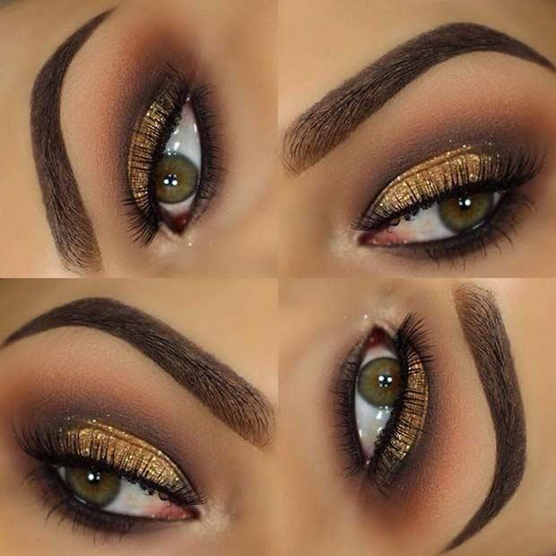 Elegant Gold Glitter Eye Makeup Look