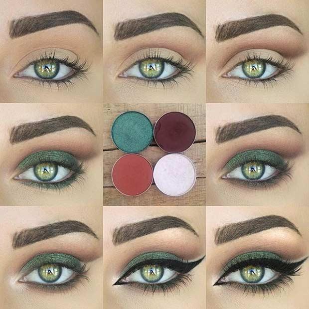 Green Eye Makeup Look Tutorial