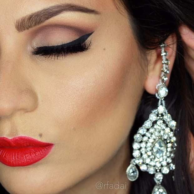 Red Lips Wedding Makeup Look
