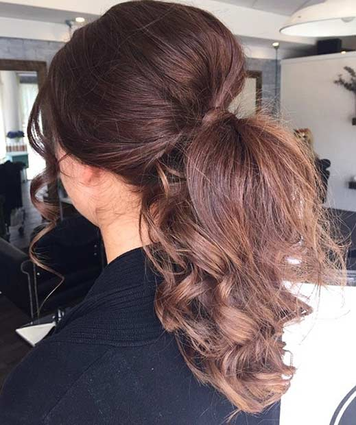 Elegant Curly Ponytail Hairstyle With Teased Crown