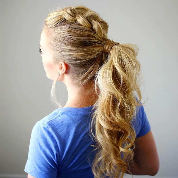 Dutch Braid Mohawk Ponytail