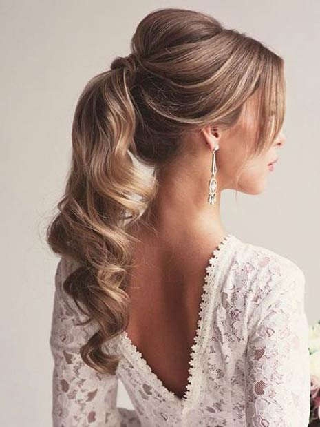 Elegant Curly Ponytail for Brides or Bridesmaids