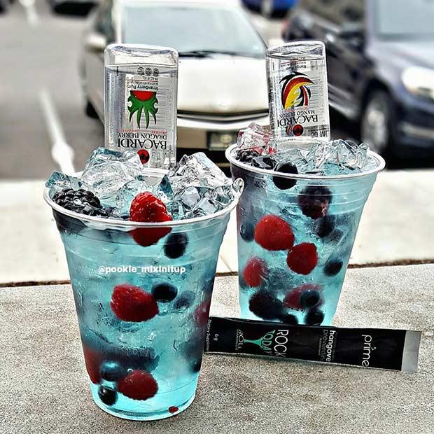 Blue Lagoon Berry Summer Cocktail