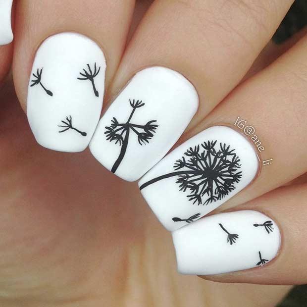 White Dandelion Nail Art Design