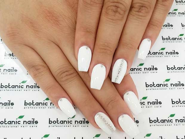 White Coffin Nails with Silver Details