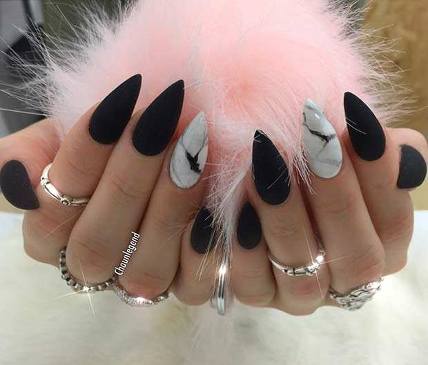 Black Stiletto Nails with White Marble Accent Nail