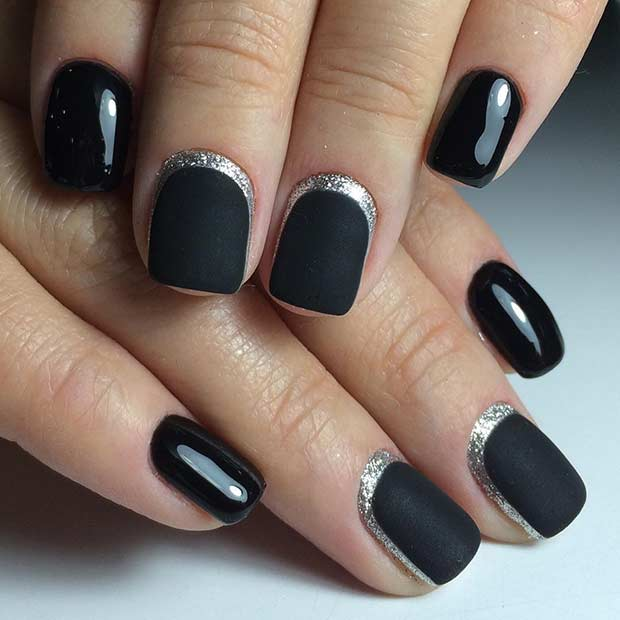 Matte Black Half Moon Nail Art Design