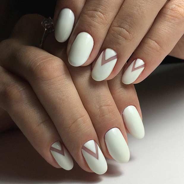 Simple White Nail Art Design