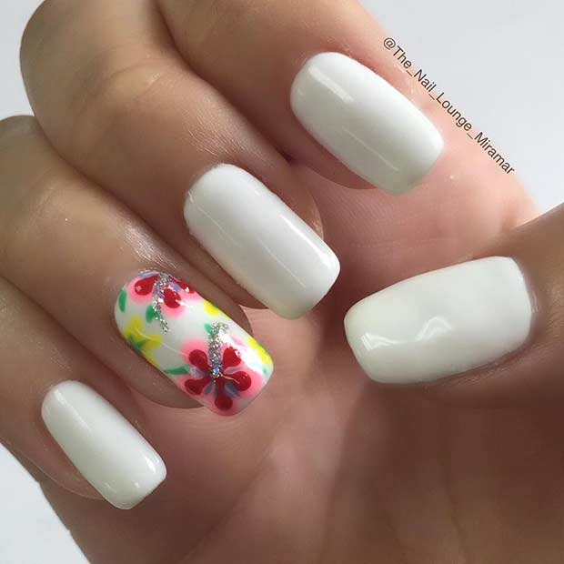 White Nails with Flower Accent Nail