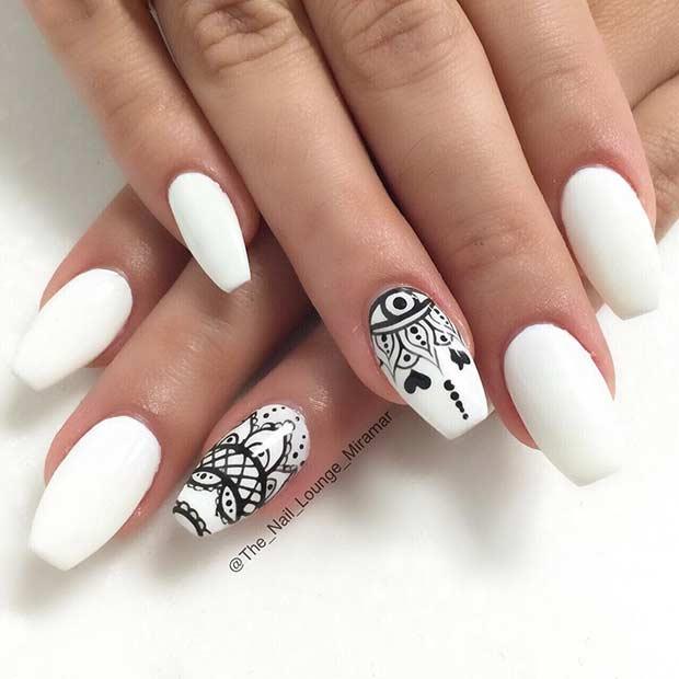 White Henna Nail Art Design