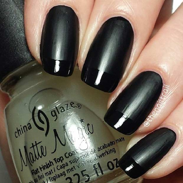 Black Matte and Glossy French Tip Nails