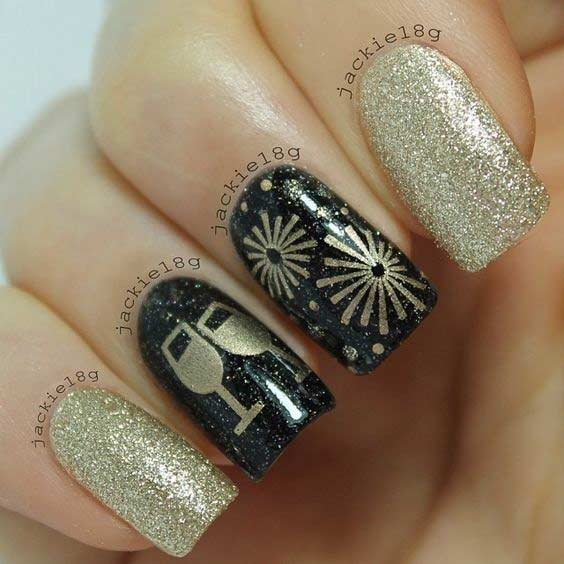 Black and Gold New Year's Eve Nail Design