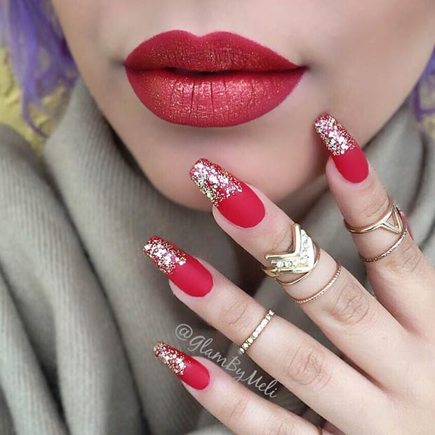 Matte Red and Gold Glitter Nail Art Design for Holidays