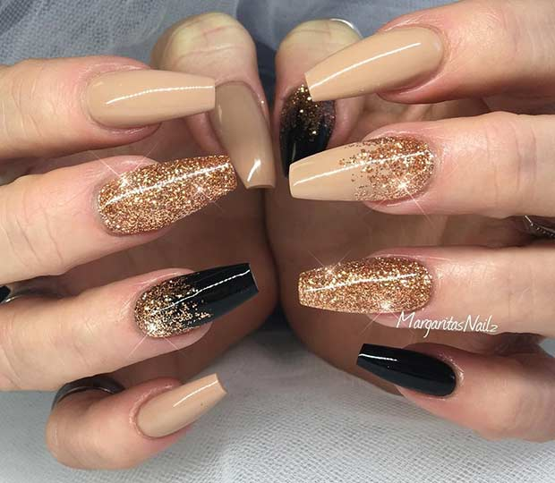 Neutral Black and Gold Glitter Coffin Nail Art Design