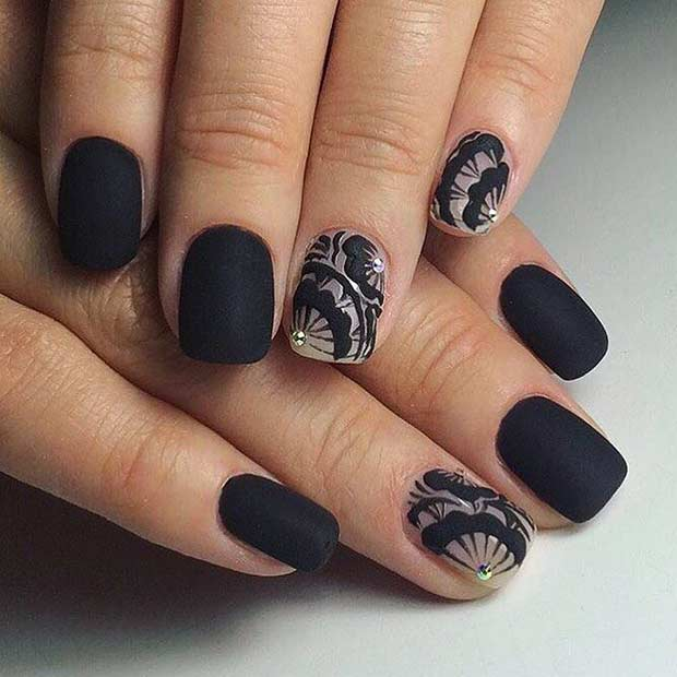 25 cool matte nail designs to copy in 2017 crazyforus matte black nail design for short nails prinsesfo Image collections