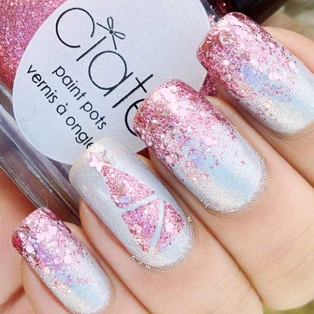 Pink Glitter Christmas Nails