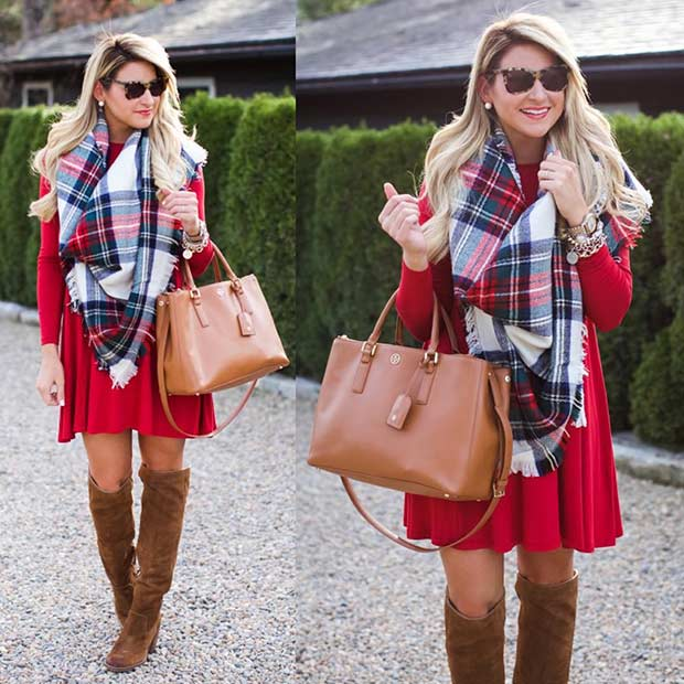 Red Dress Flannel Scarf Christmas Outfit