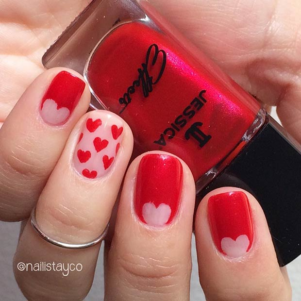 27 pretty nail art designs for valentines day crazyforus red heart valentines day nail design for short nails prinsesfo Images