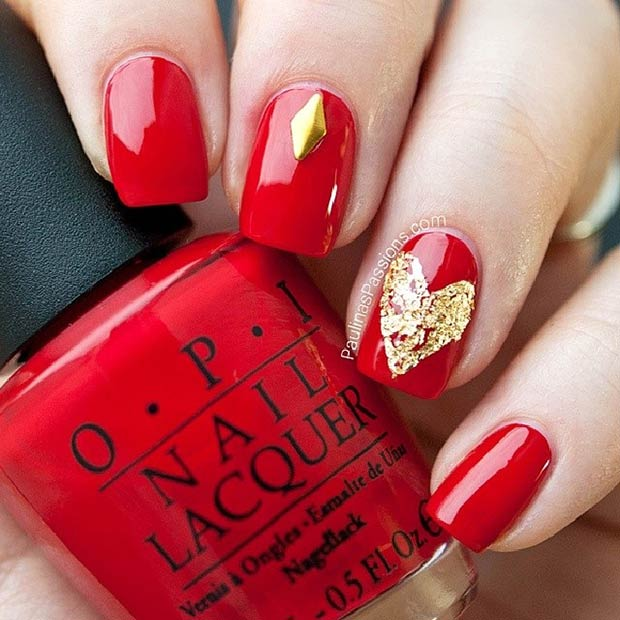 Easy Red And Gold Heart Nail Design For Valentine S