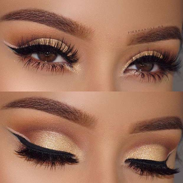 Gold Eye Makeup and Double Eyeliner Look for Prom