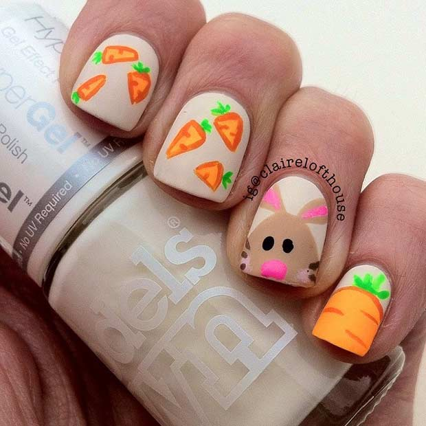 Matte Bunny and Carrots Easter Nails