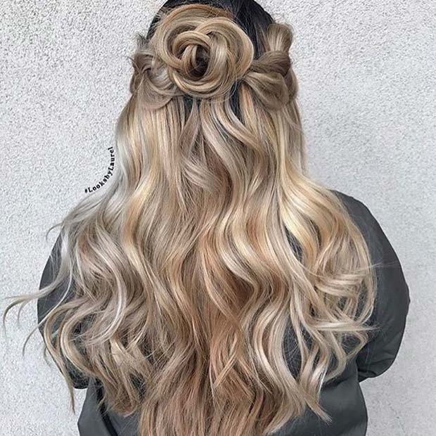 Curled Half Up Half Down Hair Idea for Prom
