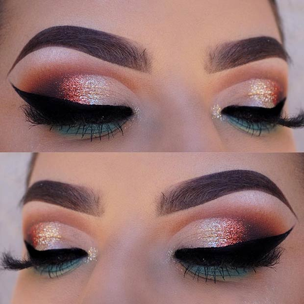 Colorful Glitter Eye Makeup Idea for Spring
