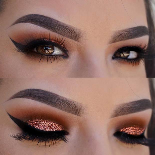 Copper Glitter Cut Crease Makeup Idea