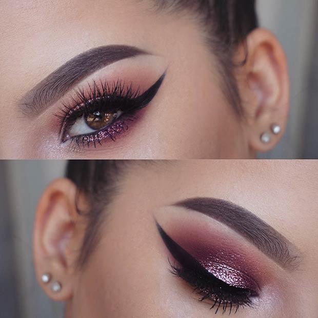 Burgundy Purple Smokey Eye with a Pop of Glitter