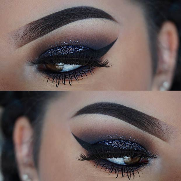 Black Glittery Smokey Eye for Brown Eyes