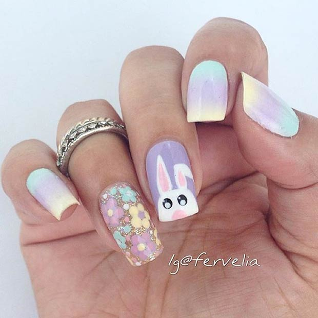 Pastel bunny Spring Easter Nail Art Design