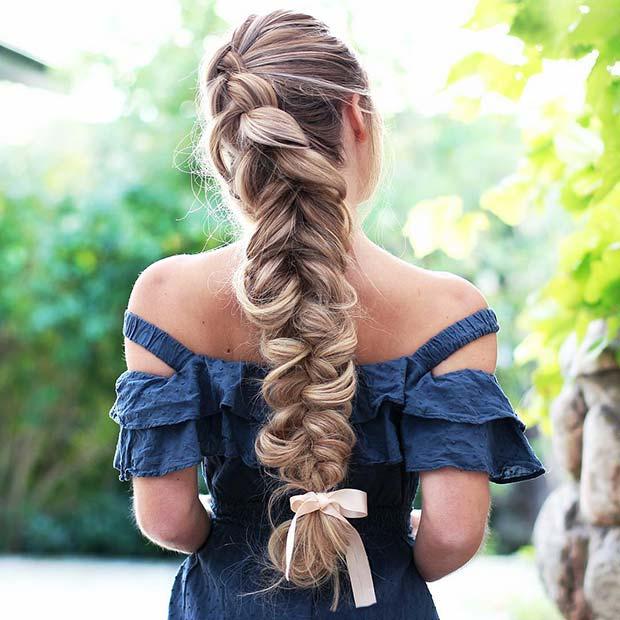 Braid with Bow Hair Idea for Prom