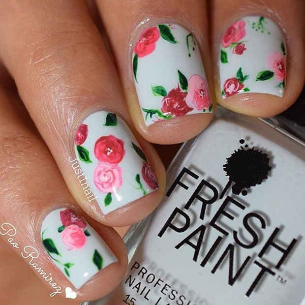 White Nails with Rosy Flower Nail Art for Spring 2017