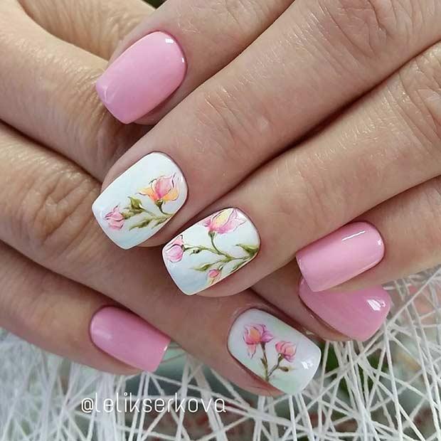 Pretty Light Pink Flower Nail Design for Spring