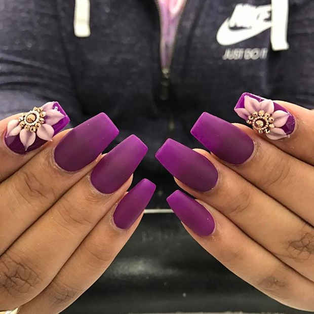 Purple Nails with 3D Flower Design for Spring 2017