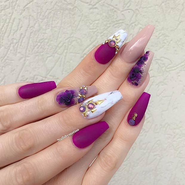 Matte Fl Nail Art Design For Spring