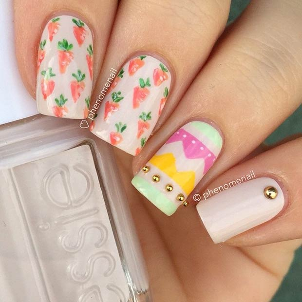 DIY Colorful Easter Nail Art Design
