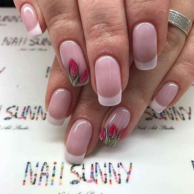 Clear Manicured Nails With Tulip Design for Spring 2017