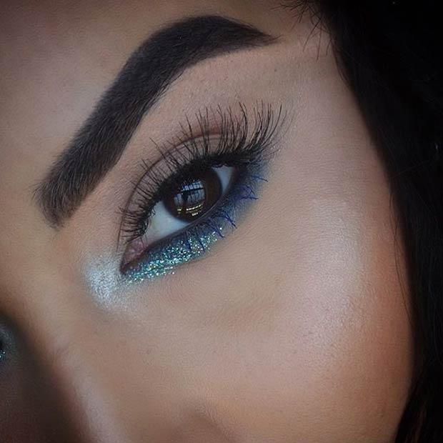 Colorful Glitter Lower Lash Line Makeup