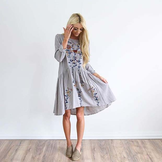 Floaty Embroidered Floral Dress